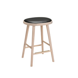 Colibri barstool 63cm oak blonde, bonded leather black emb | Taburetes de bar | Hans K
