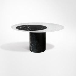 Proiezioni Dining Table Bianco Carrara / Nero Marquinia Ø160 h72 with inlay (Circle) | Mesas comedor | Salvatori
