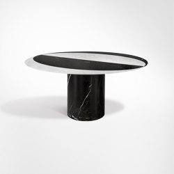 Proiezioni Dining Table Bianco Carrara / Nero Marquinia Ø160 h72 with inlay (semi circle) | Dining tables | Salvatori