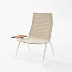 Zebra Knit High-back lounge armchair with Iroko side table | Fauteuils | Fast