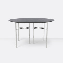 Mingle Round Table Top - Ø: 130cm – Black Veneer | Dining tables | ferm LIVING