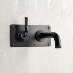 LMK Industrial Wall Mounted Lavatory Mixer - Matte Black Chrome | Bath taps | Samuel Heath