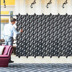 Facet Hanging Room Divider - 306x197cm   Sound absorbing suspended panels   Bloomming