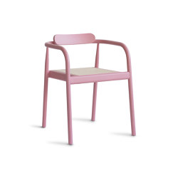 Ahm chair | Indian Red with cane seat | Sillas | Please Wait to be Seated