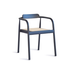 Ahm chair | Navy Blue with cane seat | Sillas | Please Wait to be Seated