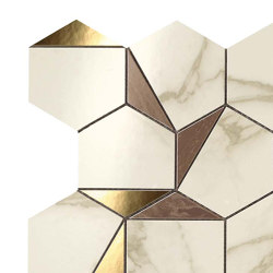 MARVEL Gold Hex Brown-Calacatta | Keramik Mosaike | Atlas Concorde