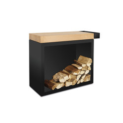 Butcher Block Storage Black 45-90-88 | Fireplace accessories | OFYR
