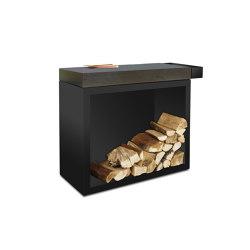 Butcher Block Storage Black 45-90-88 Ceramic Dark | Fireplace accessories | OFYR