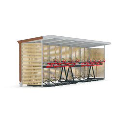 aureo velo | Shelter with two-tier bicycle parking | Compact bicycle parking | mmcité