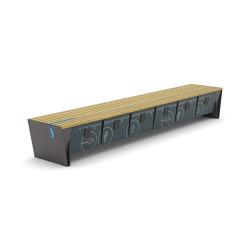 eblocq | Park bench with integrated lockable storage boxes | Benches | mmcité