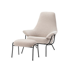Hai Chair Melange Grey + Ottoman | Armchairs | Hem Design Studio