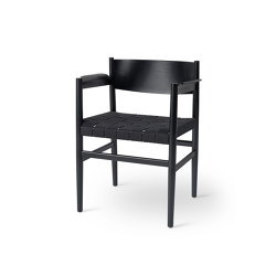 Nestor - Black Stained Beech with Black Linen Belt Seat | Chairs | Mater