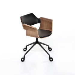 Flagship Arm chair with swivel base and castors | Sillas | PlyDesign