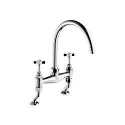 Edwardian Cross Top, Two-Hole Kitchen Sink Bridge Mixer 215mm (8″) Spout | Deck Mounted | Rubinetterie cucina | Czech & Speake