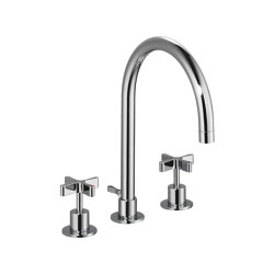 DCA Three-Hole Basin Mixer with Pop-Up Waste 210mm | Wash basin taps | Czech & Speake