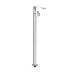 AXOR Edge | Single lever basin mixer floor-standing with push-open waste set - diamond cut | Bath taps | AXOR