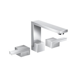 AXOR Edge | 3-hole basin mixer with push-open waste set - diamond cut | Wash basin taps | AXOR