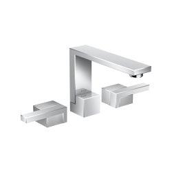 AXOR Edge | 3-hole basin mixer with push-open waste set - diamond cut | Rubinetteria lavabi | AXOR
