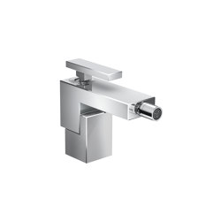 AXOR Edge | Single lever bidet mixer with push-open waste set - diamond cut | Wash basin taps | AXOR