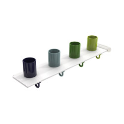 Extension set tumbler rack with hooks, 4 places | 800.03.410 | Portasciugamani | HEWI