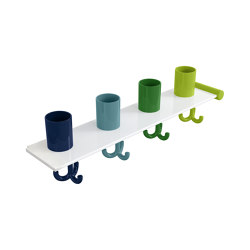 Extension set tumbler rack with hooks, 4 places | 800.03.412 | Portasciugamani | HEWI