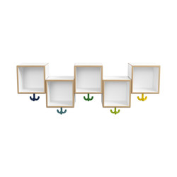 Asymmetric row module, 5 places with triple hooks | M20.03.001 | Guardaroba infanzia | HEWI