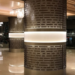 Decorative Round Metal Laser cut Column Covers in Medium Bronze Color | Plaques de métal | Moz Designs