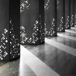 Decorative Square Metal Column Covers in 212 Patina with Custom Metro Laser Cut Pattern | Lamiere metallo | Moz Designs