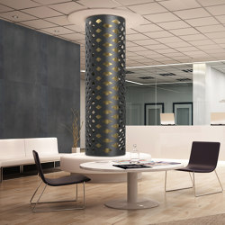Decorative Round Metal 2 tone Laser Cut Column Cover in 212 Patina with Rhythm Laser Cut Pattern | Metal sheets | Moz Designs