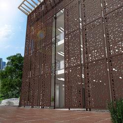 Exterior Applications - Bubbles Laser Cut Wall in Rust Powder Coat | Metal sheets | Moz Designs