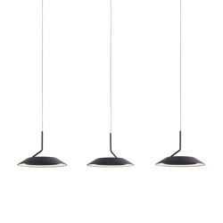 Royyo Pendant (linear with 3 pendants), Matte Black, Matte Black Canopy | Suspended lights | Koncept