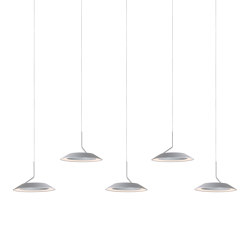 Royyo Pendant (linear with 5 pendants), Silver, Silver Canopy | Suspended lights | Koncept