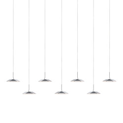 Royyo Pendant (linear with 7 pendants), Chrome, Matte White Canopy | Suspended lights | Koncept