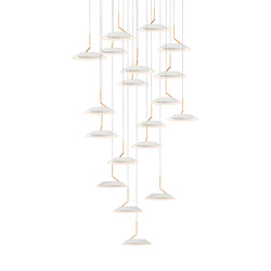 Royyo Pendant (Circular with 19 pendants), Matte White with Gold accent, Matte White Canopy | Lampade sospensione | Koncept
