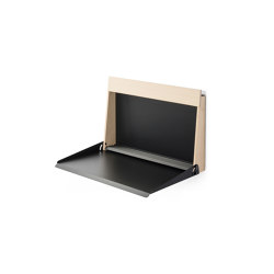 Kabinett | High desk and secretary, black grey RAL 7021 | Shelving | Magazin®