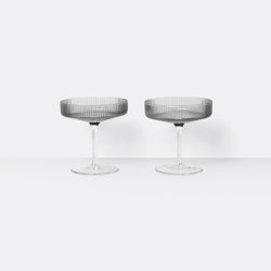 Ripple Champagne Saucers - Set of 2 - Smoked Grey | Vasos | ferm LIVING