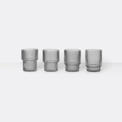 Ripple Glass - Set of 4 - Smoked Grey | Vasos | ferm LIVING