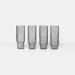 Ripple Long Drink Glass - Set of 4 - Smoked Grey | Vasos | ferm LIVING