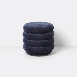Pouf - Round - Faded Velvet - Small - Ocean 42 | Poufs | ferm LIVING