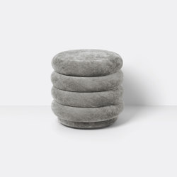 Pouf - Round - Faded Velvet - Small - Concrete 17 | Pufs | ferm LIVING