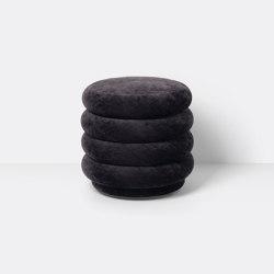 Pouf - Round - Faded Velvet - Small - Mokka 6 | Poufs | ferm LIVING