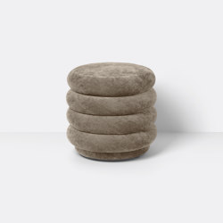 Pouf - Round - Faded Velvet - Small - Beige 26 | Poufs | ferm LIVING