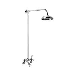 Edwardian Wall-Mounted Bath Mixer With Fixed Riser / Shower Arm + Shower Rose (300mm)   Shower controls   Czech & Speake