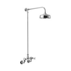 Edwardian Wall-Mounted Shower Mixer + Fixed Riser / Shower Arm + Shower Rose (200mm) | Shower controls | Czech & Speake