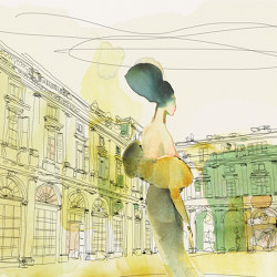 Watercolor and Palazzo Serbelloni, woman in style | Wall coverings / wallpapers | WallPepper