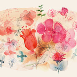 Watercolor and red flowers | Wall coverings / wallpapers | WallPepper