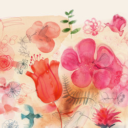 Watercolor and red flowers | Revestimientos de paredes / papeles pintados | WallPepper