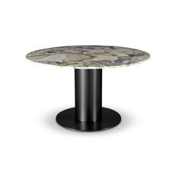 Tube Wide Dining Table Black Primavera Marble Top 1400mm | Dining tables | Tom Dixon