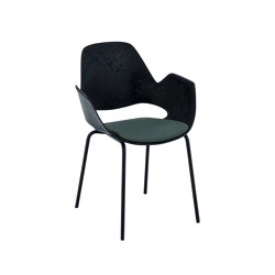 FALK | Dining armchair - Metal legs, Dark Olive seat | Sillas | HOUE