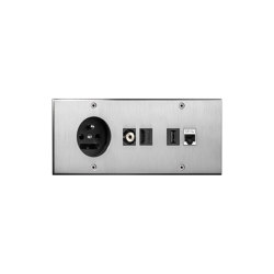 Cullinan - Brushed nickel - Socket + connectors | Prese Schuko | Atelier Luxus